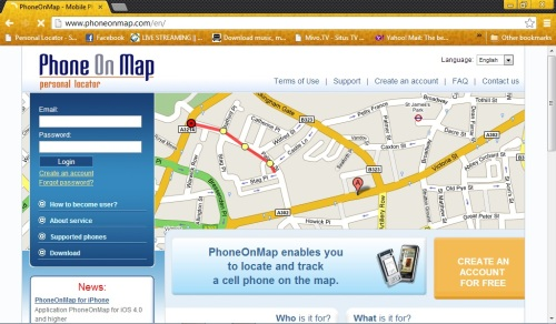 phone on map website